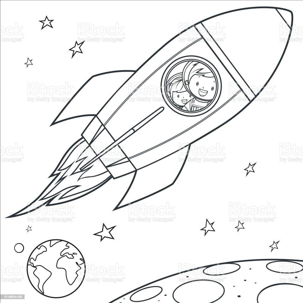 Boyama Kitabı Uzaya Gitmeyi çocuklar Stok Vektör Sanatı