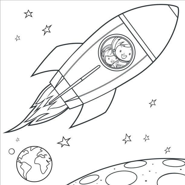 Nave Espacial A Los Niños Para Colorear Página Vectores