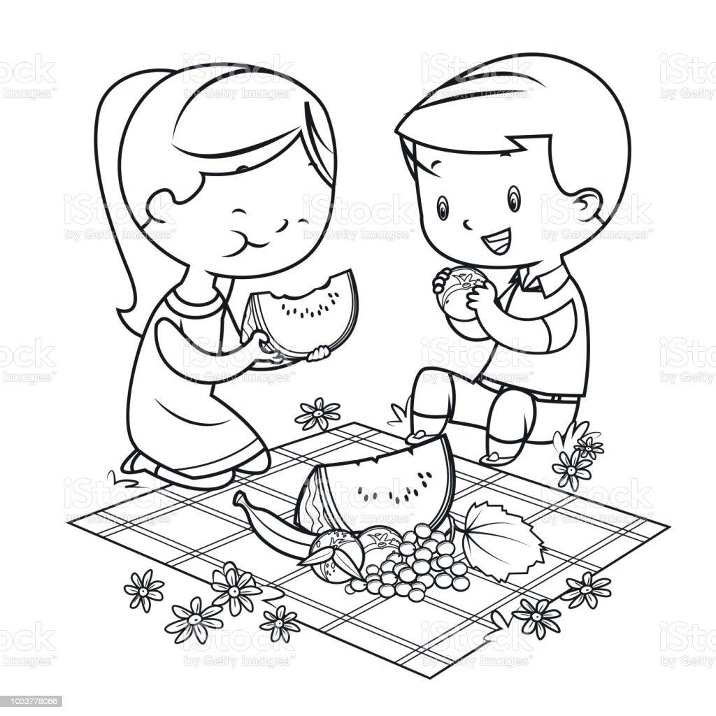 Boyama Kitabı çocuklar Piknik Stok Vektör Sanatı Abdnin Daha
