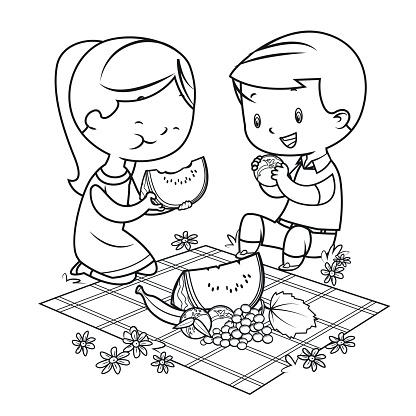 Coloring Book, kids having a picnic