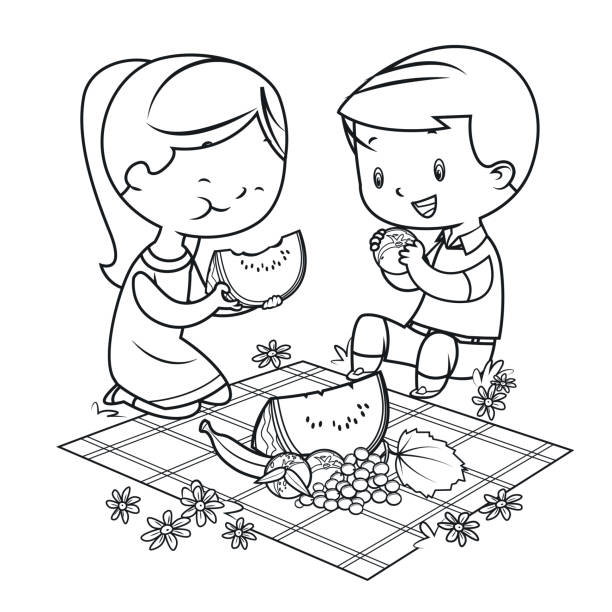 Coloring Book, kids having a picnic vector art illustration