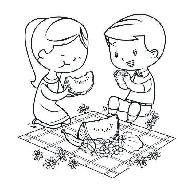 illustrazioni stock, clip art, cartoni animati e icone di tendenza di coloring book, kids having a picnic - pesche bambino