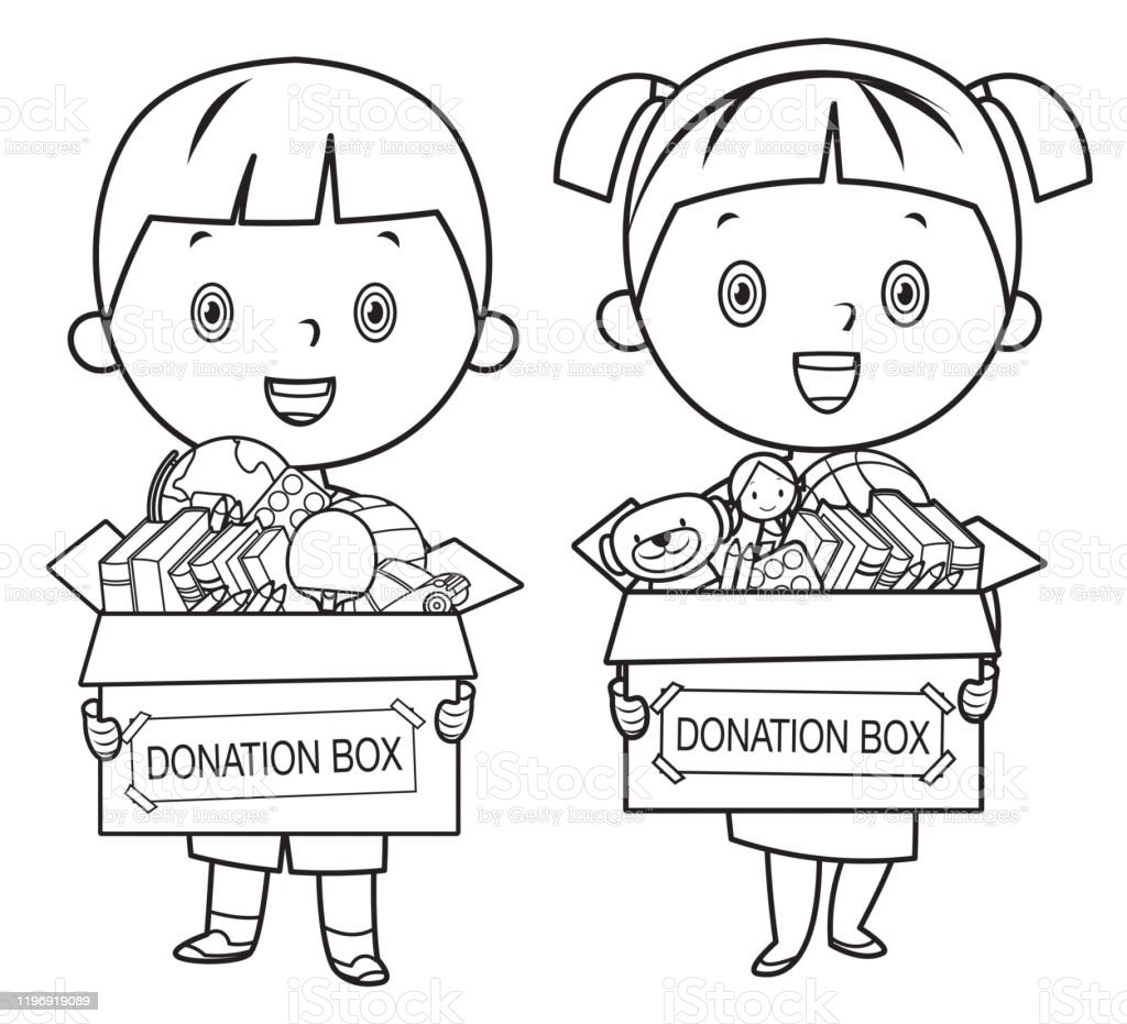- Coloring Book Kids Holding Donate Box With Books Pencils And Toys Stock  Illustration - Download Image Now - IStock