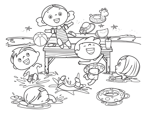 Coloring book, Kids Jumping Into sea