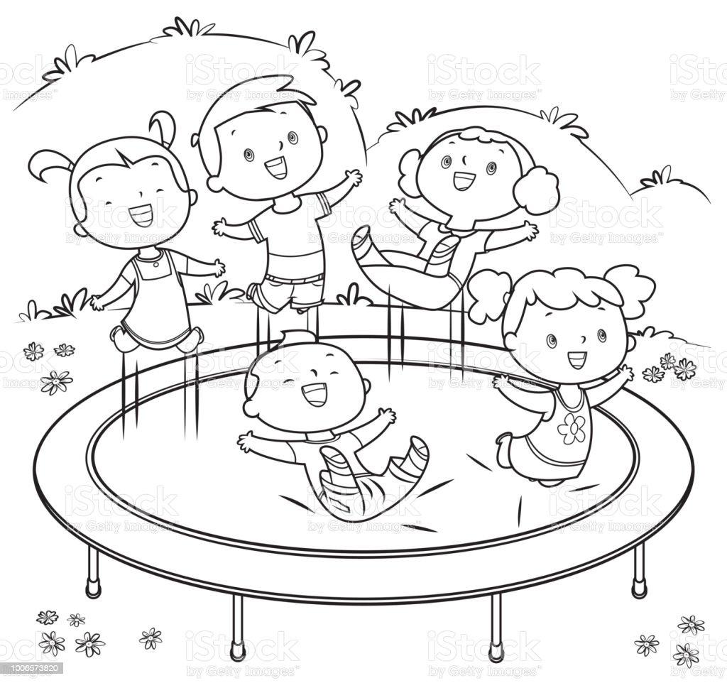 Ilustración De Libro Para Colorear Los Niños Saltando En Trampolín Y