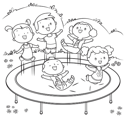 Coloring Book, Kids jumping on trampoline
