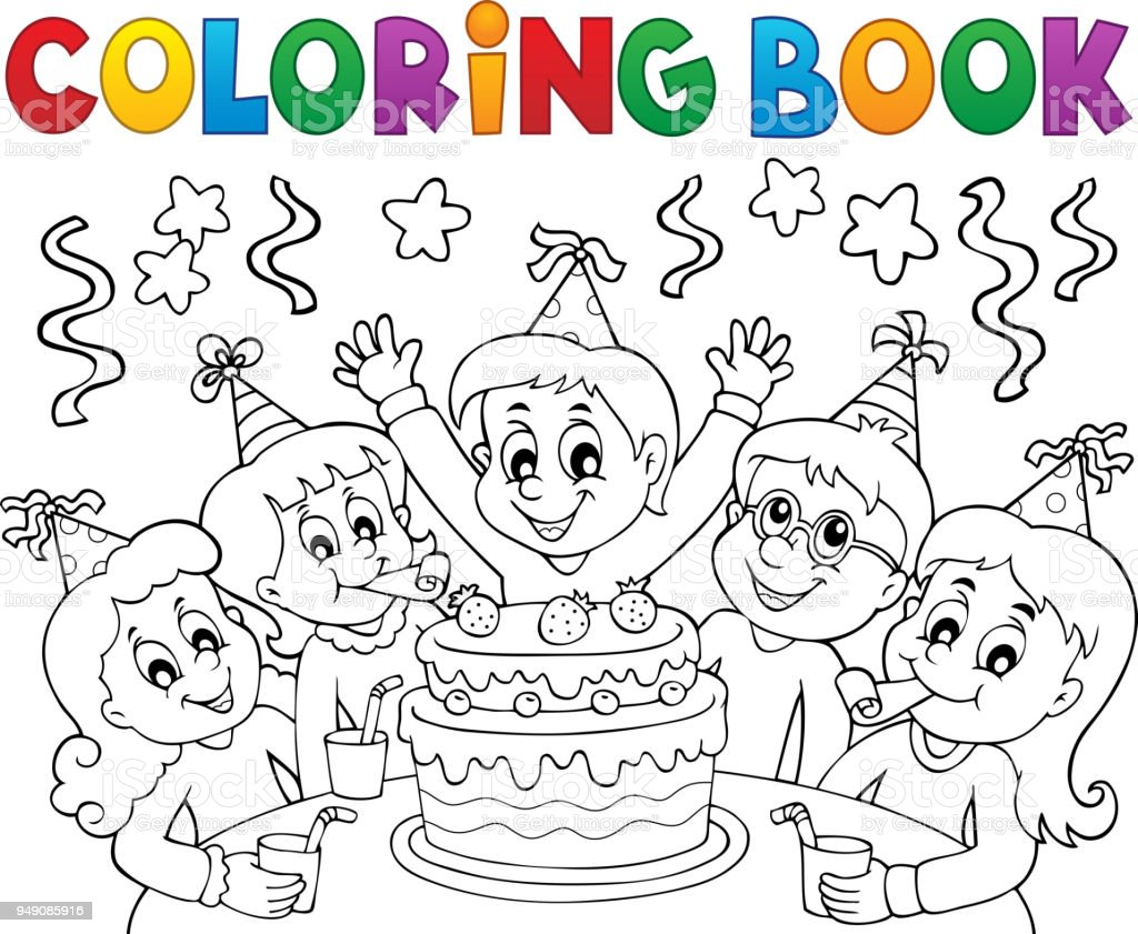 Coloring Book Kids Party Topic 1 Stock Illustration
