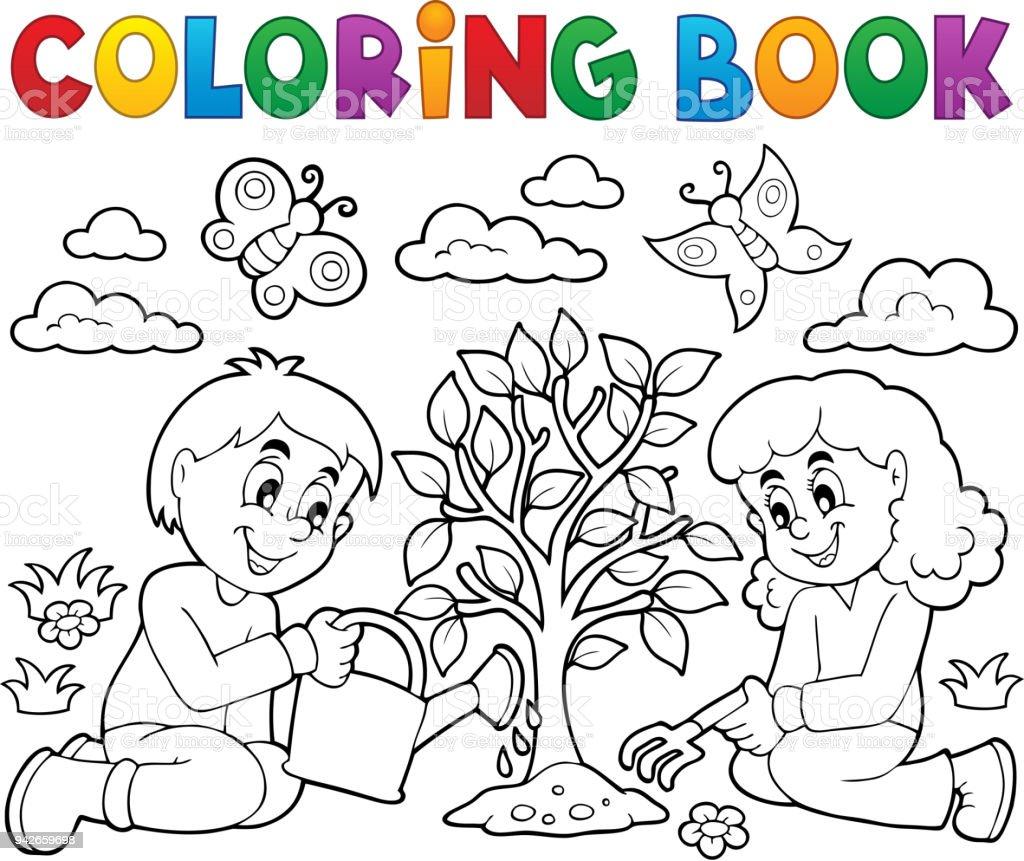 Ağaç Dikme Boyama Kitabı çocuklar Stok Vektör Sanatı Ağaçnin Daha