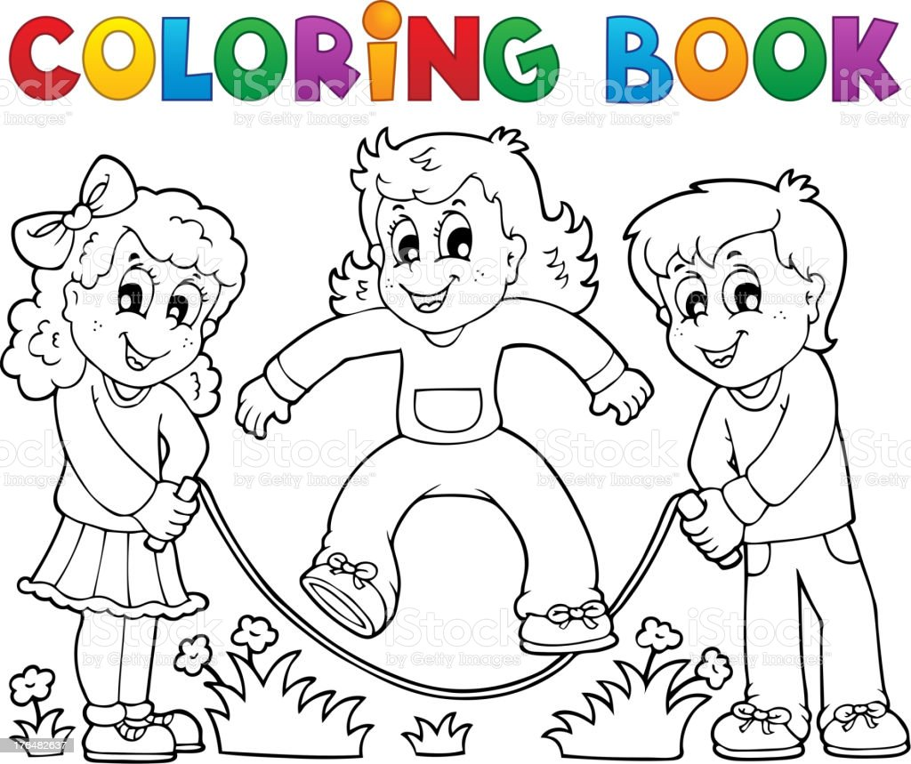 Coloring Book Kids Play Theme 1 Royalty Free Stock Vector Art