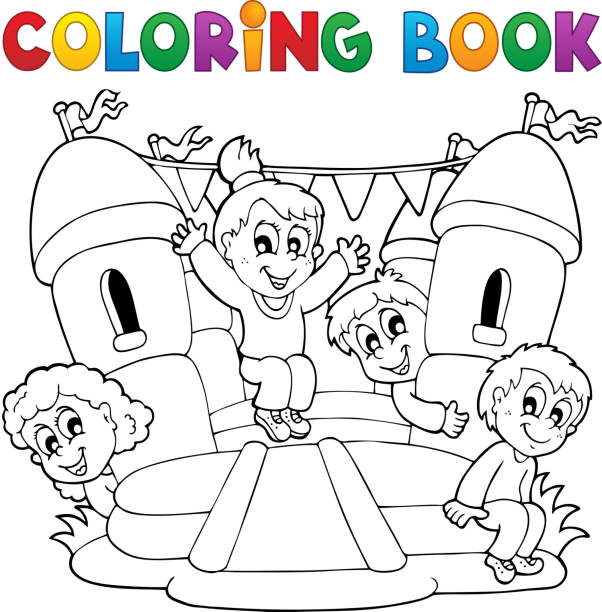 Coloring book kids play theme 5 vector art illustration