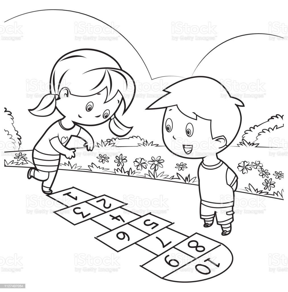 Ilustración De Libro Para Colorear Niños Jugando Rayuela Y Más