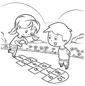 Vector Coloring Book, Kids Playing Hopscotch