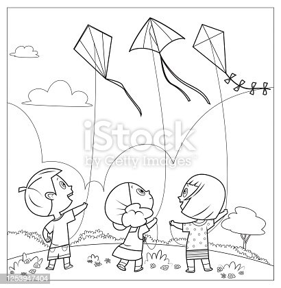 istock Coloring book, Kids Playing Kites 1253947404