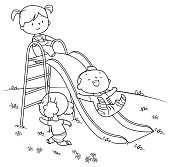 coloring book, kids playing on slide