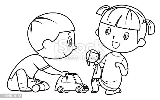 Coloring Book, Kids Playing With Toy
