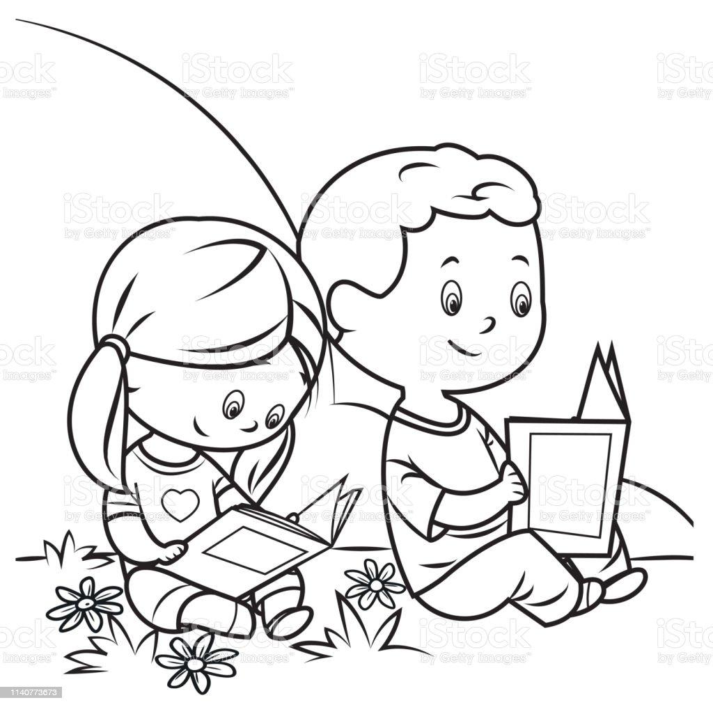 Ilustración De Libro Para Colorear Niños Leyendo Y Más Vectores