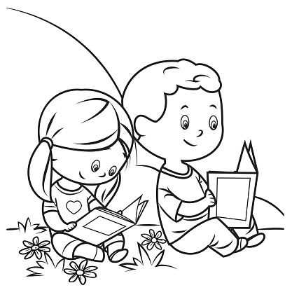 Coloring Book, Kids Reading