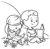 Vector Coloring Book, Kids Reading