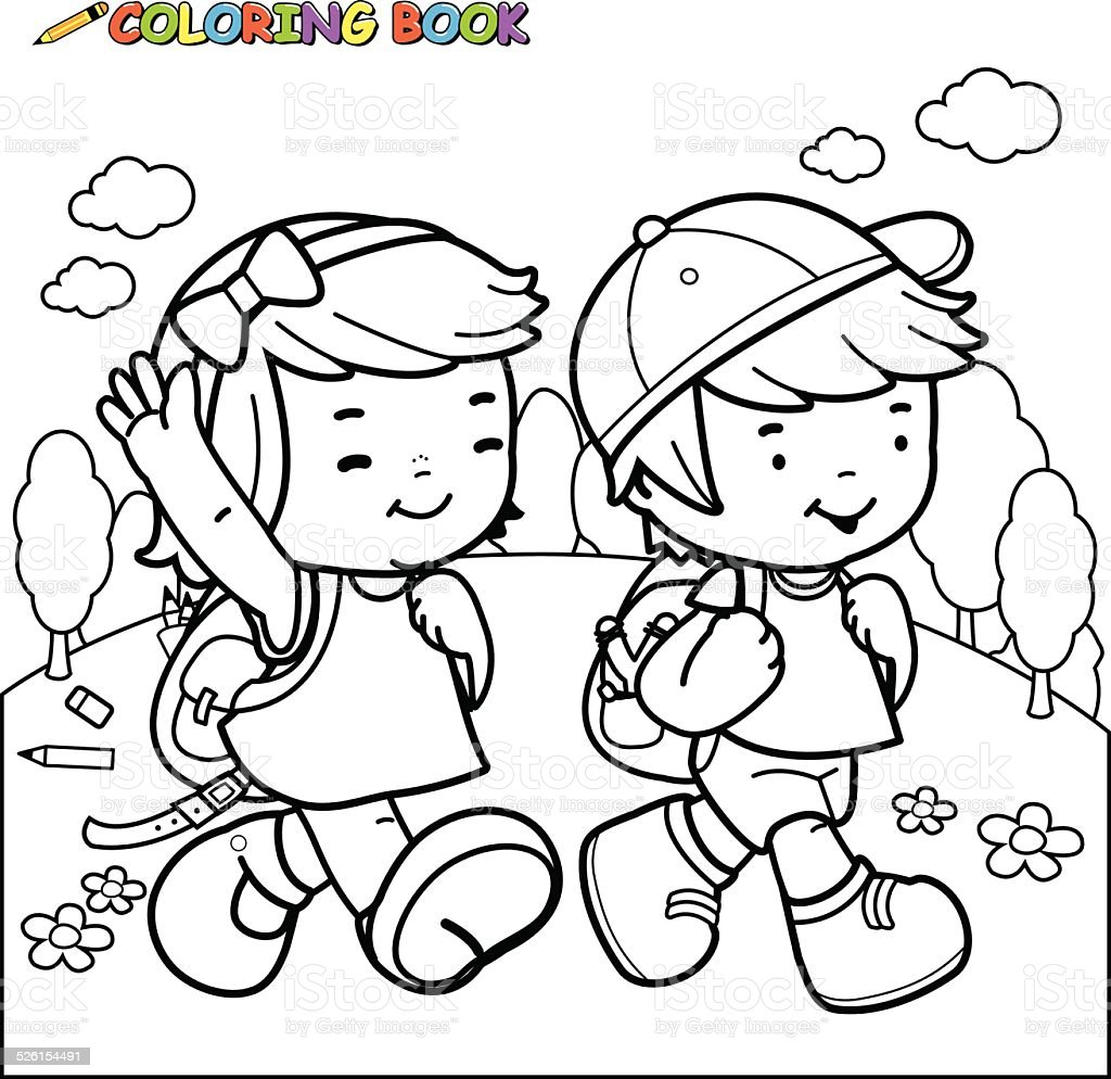 Coloring book kids walk to school vector art illustration