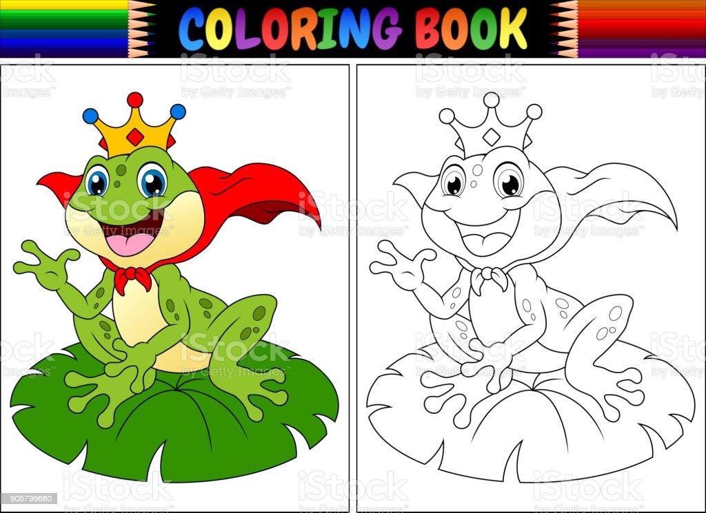 Ilustración de Libro Para Colorear Del Rey Dibujos Animados Rana y ...