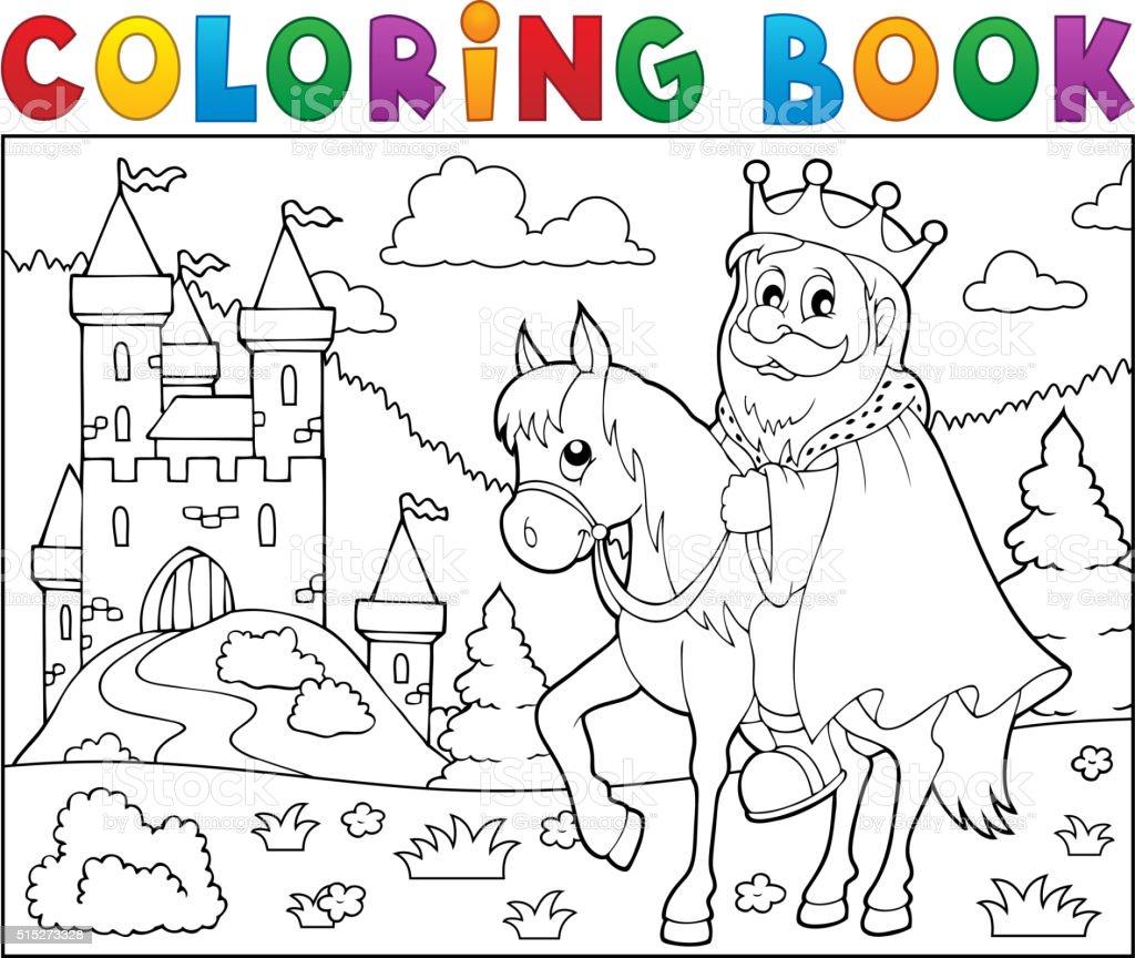 Ilustración de Libro Para Colorear El Tema De Caballos Con Cama Rey ...