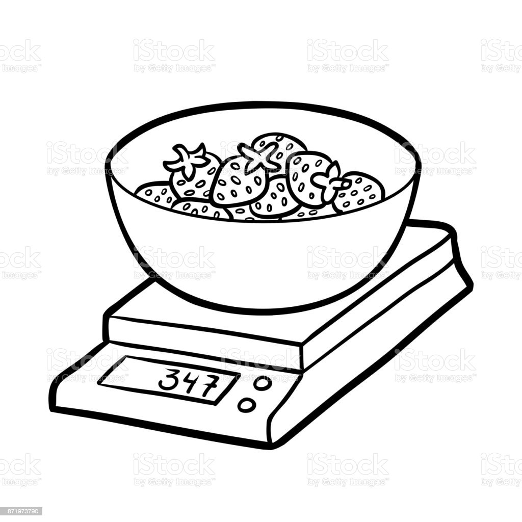 Coloring Book Kitchen Scales And Strawberries Royalty Free Stock Vector Art