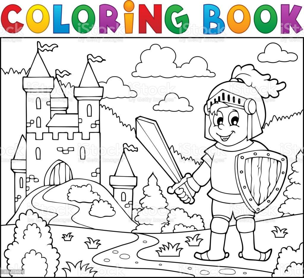 Libro Para Colorear Caballero Cerca Del Castillo - Arte vectorial de ...