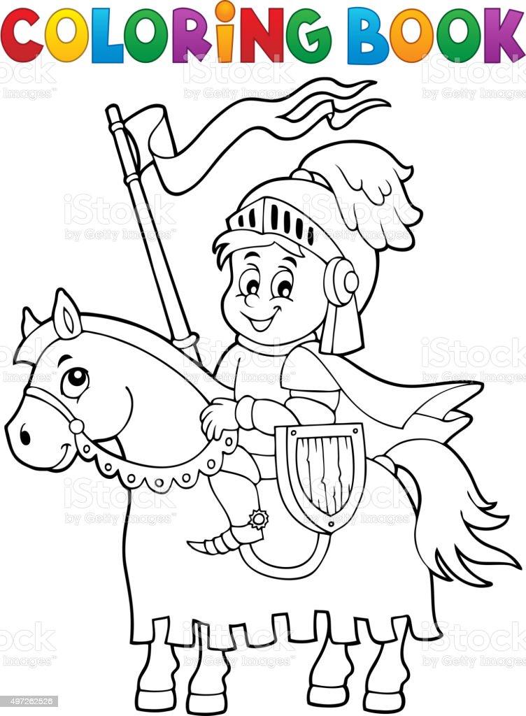 Libro Da Colorare Cavaliere A Cavallo Tema 1 Immagini Vettoriali