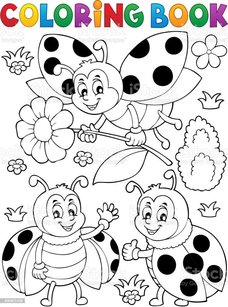 Boyama Kitabı Uğur Böceği Teması 7 Stok Vektör Sanatı Ağaç çiçeği