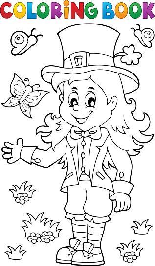 coloring book leprechaun theme 1 stock illustration