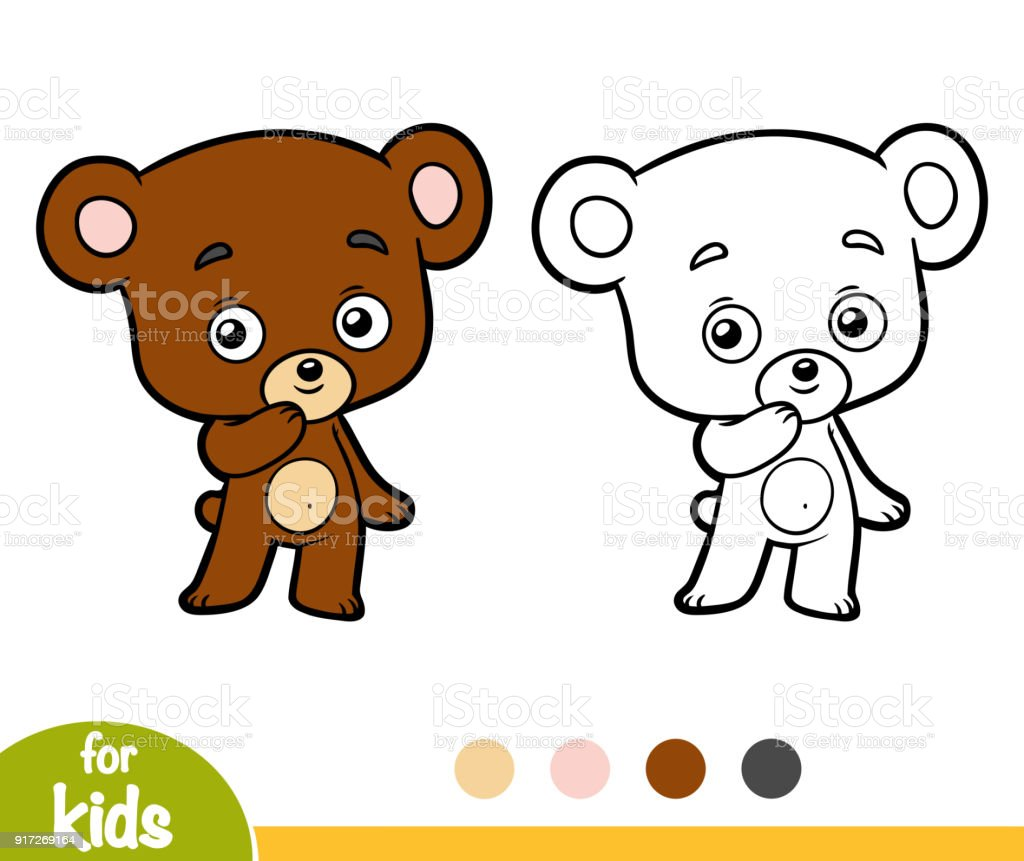 Coloring Book Little Bear Stock Vector Art & More Images of Animal ...