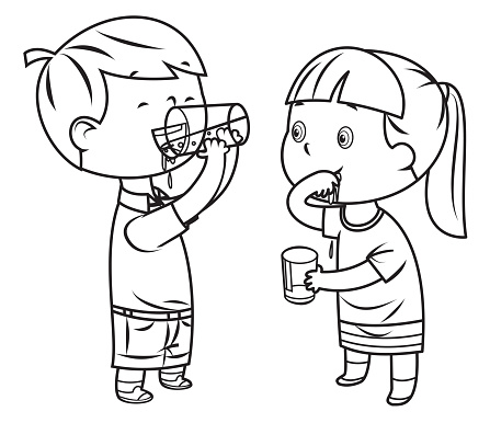 Coloring Book, Little boy and girl drinks water