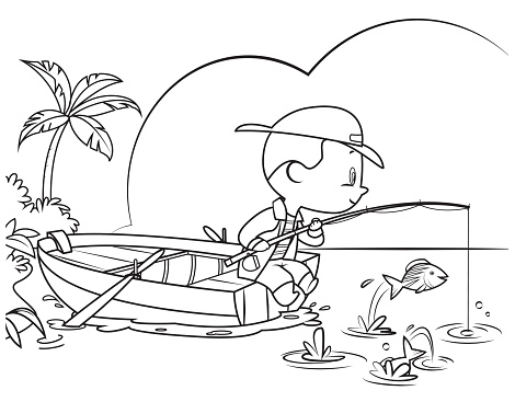 Coloring Book, Little boy fishing