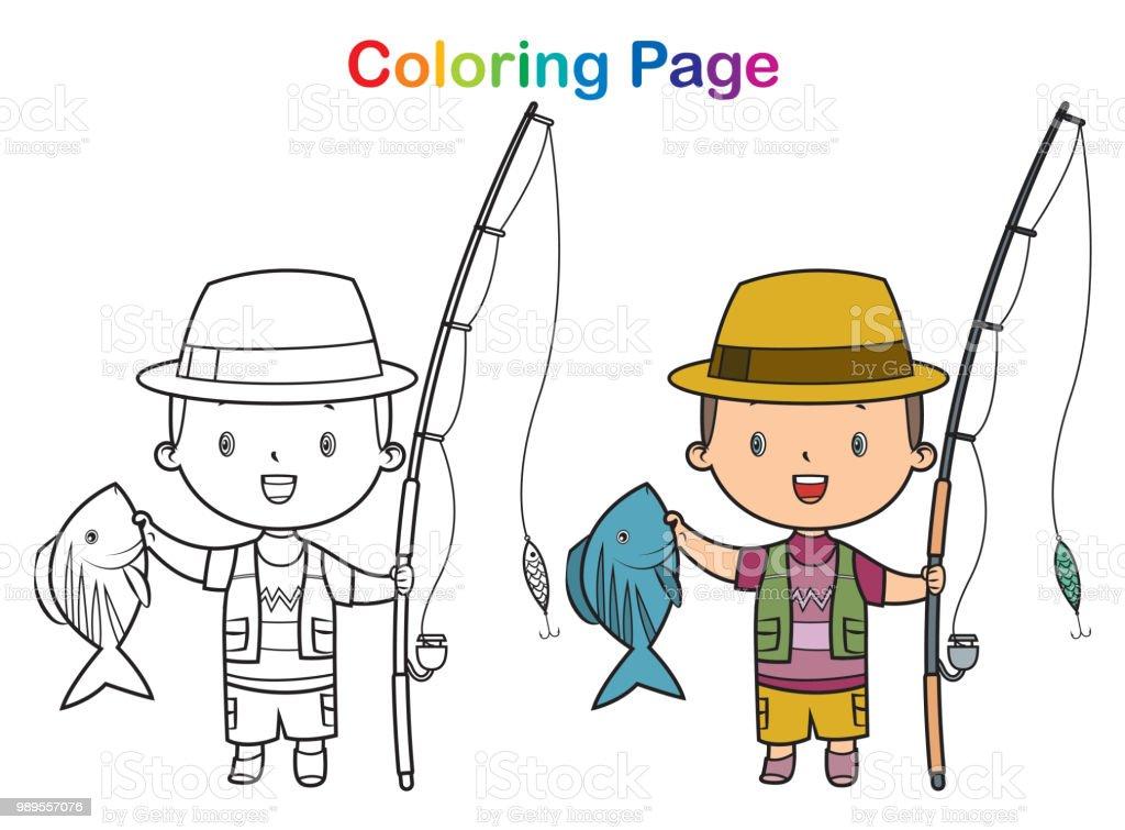 Ilustración de Libro Para Colorear Niño De Pesca y más banco de ...
