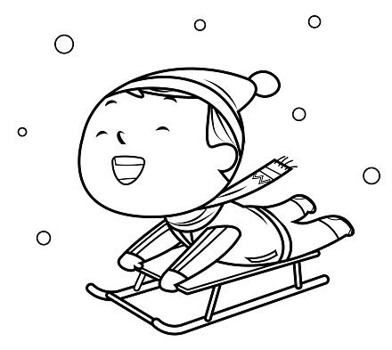 Coloring Book, Little boy on a sled