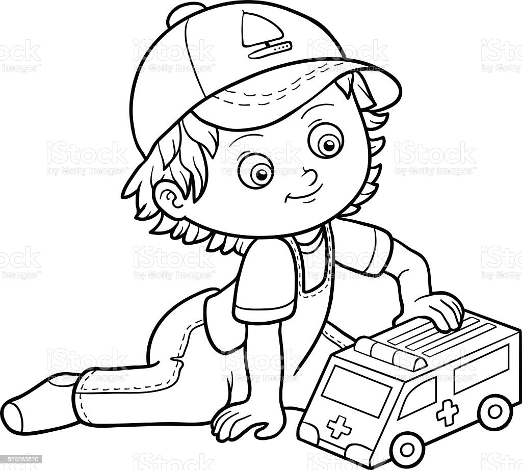 Livro De Colorir Pequeno Menino Brinca Com Carro De Ambulância ...