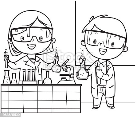 istock Coloring Book, Little doctor and nurse 965825500