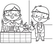 Vector Coloring Book, Little doctor and nurse