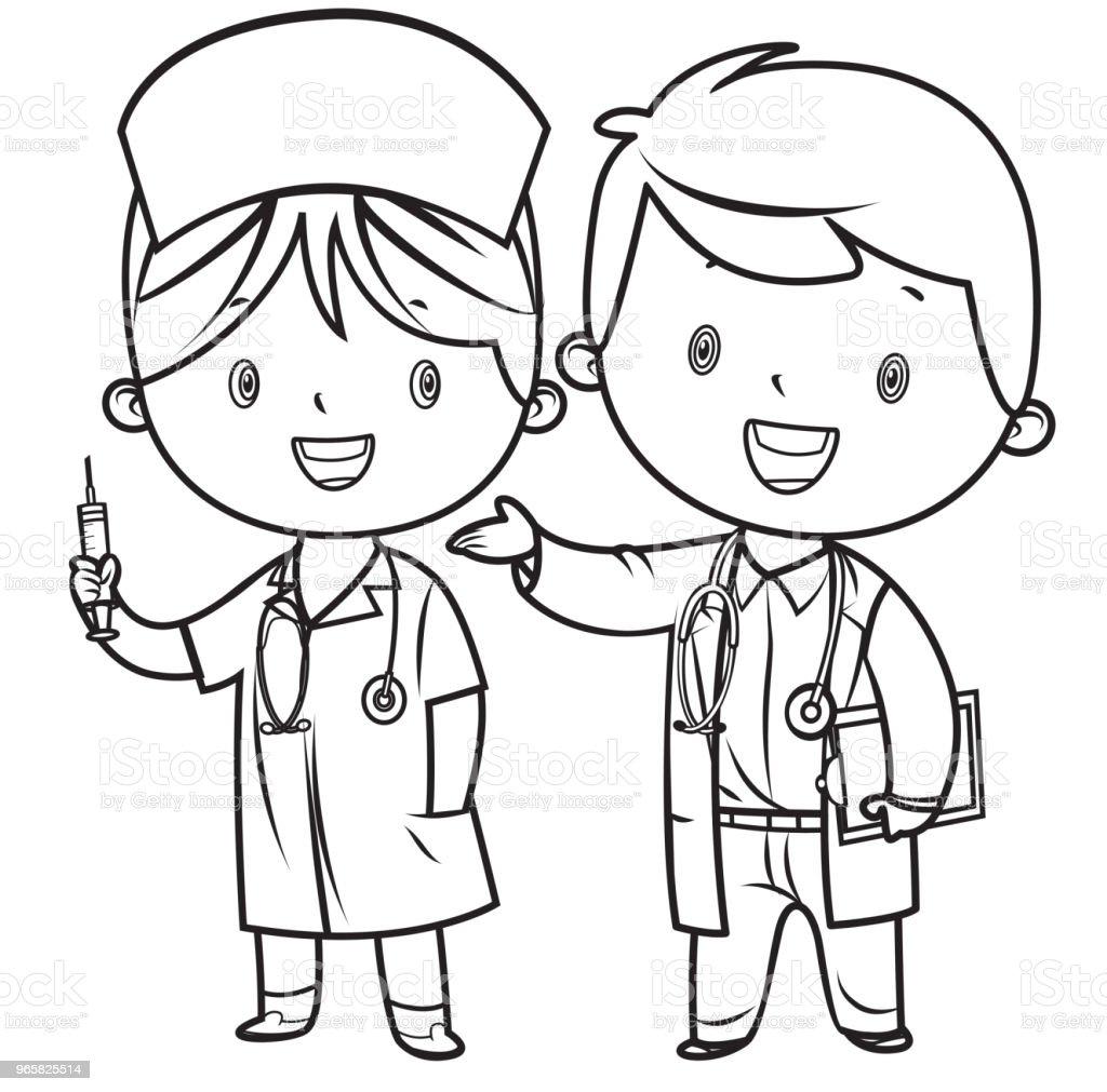 Vetores De Livro De Colorir Medico E Enfermeira E Mais Imagens De