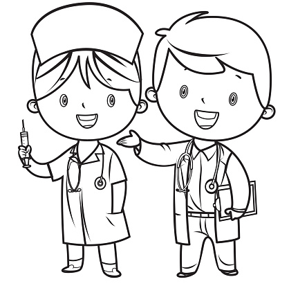 Coloring Book, Little doctor and nurse