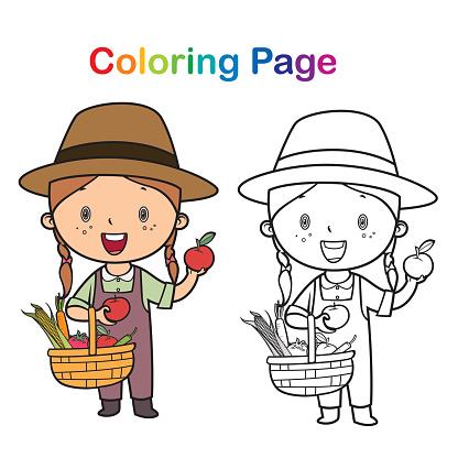 Coloring book: little girl farmer