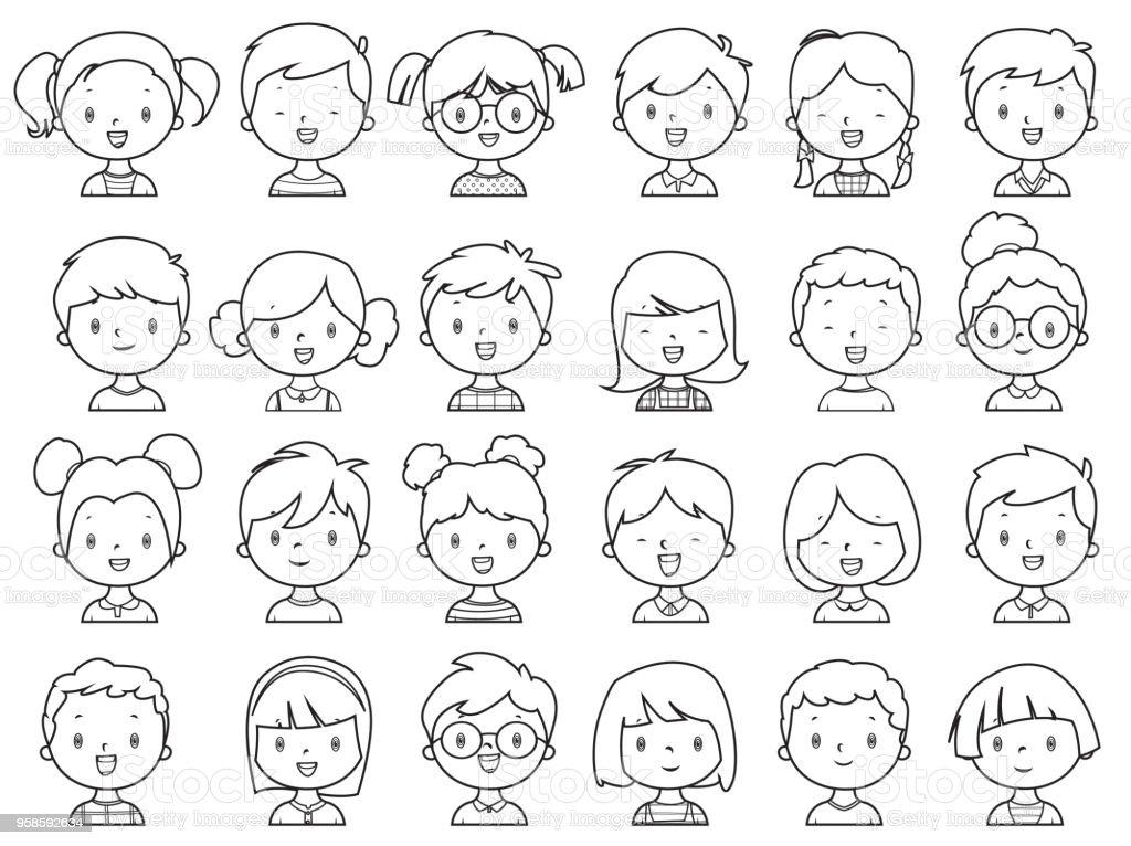 Ilustración de Libro Niñas Y Niños Para Colorear La Cara y más banco ...