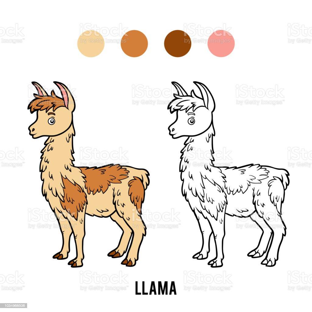 Ilustración De Libro De Colorear Llama Y Más Vectores Libres