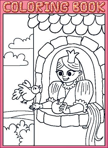 Vetores De Livro De Colorir Cabelo Comprido Pequena Princesa