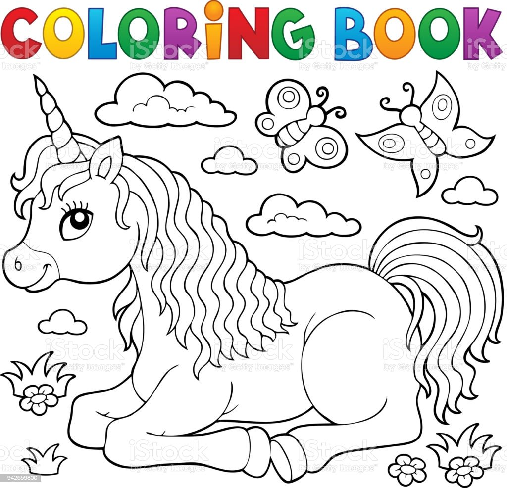 Coloring Book Lying Unicorn Theme 1 Stock Illustration Download