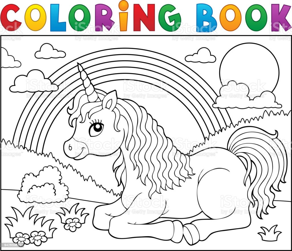 Coloring Book Lying Unicorn Theme 2 Stock Vector Art More Images
