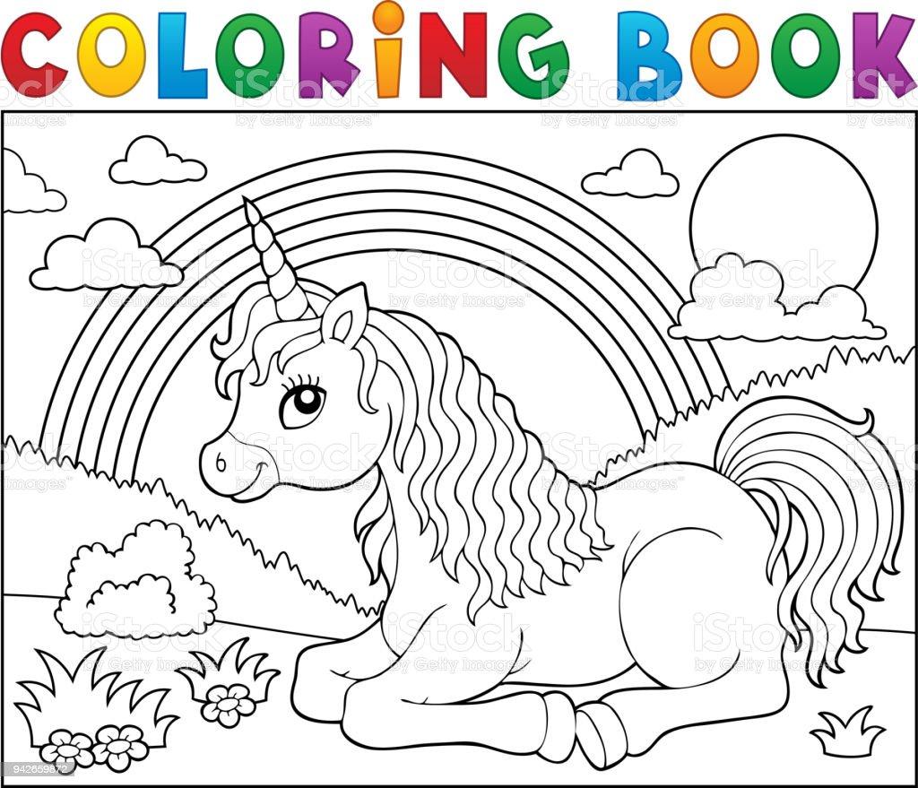 Unicorn Tema 2 Yalan Boyama Kitabı Stok Vektör Sanatı At