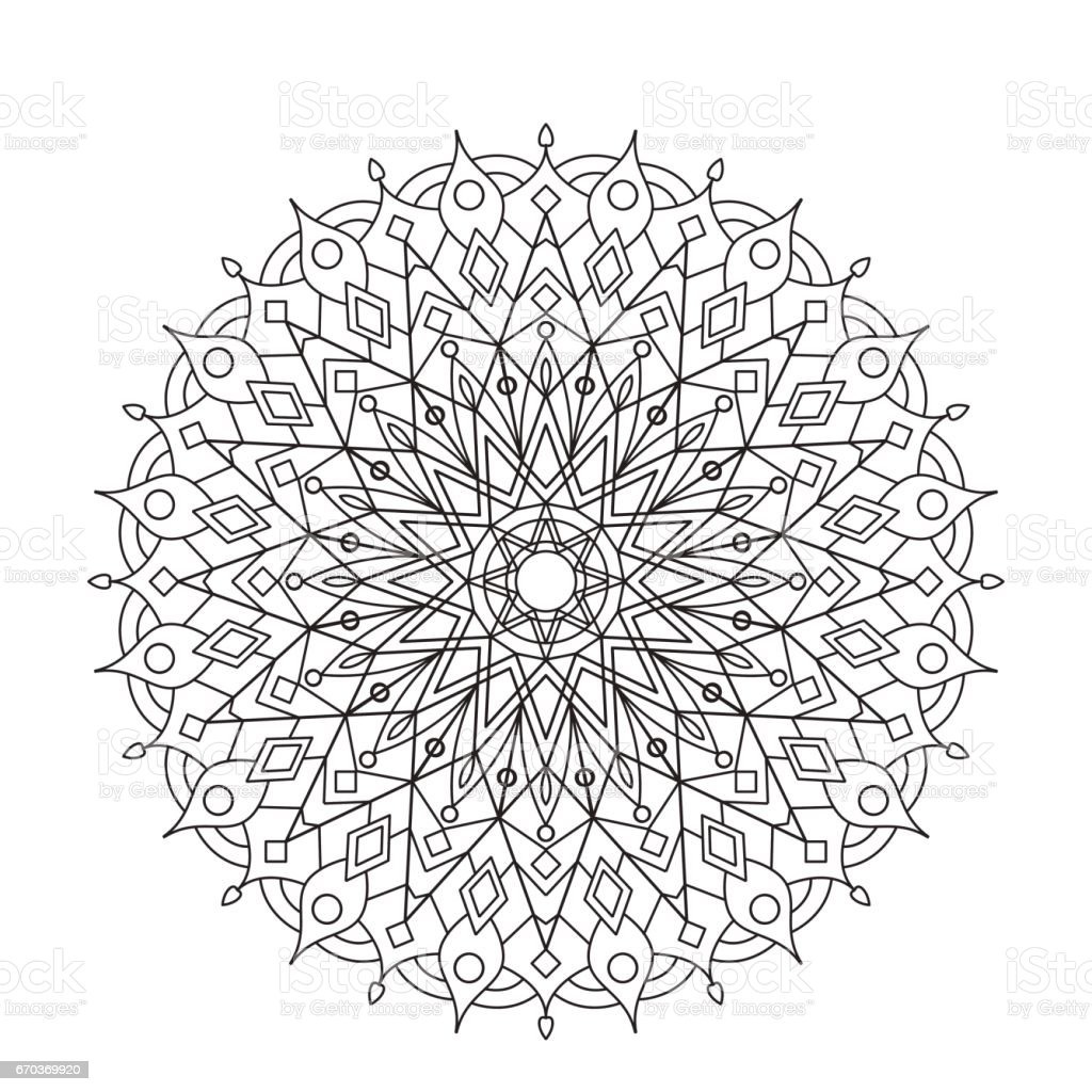 coloring book mandala circle lace ornament