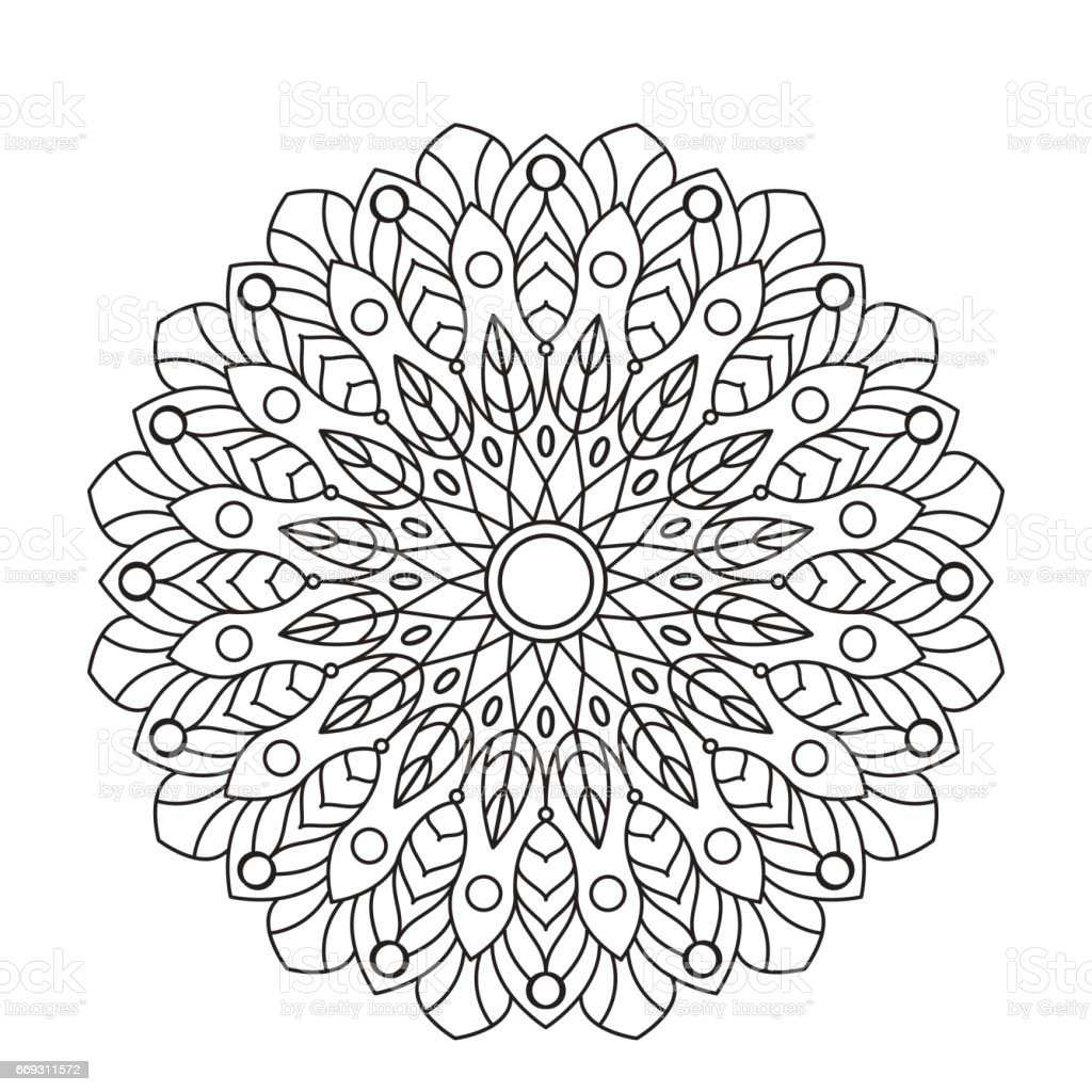 Coloring Book Mandala Circle Lace Ornament Round Ornamental Pattern Black And White Design