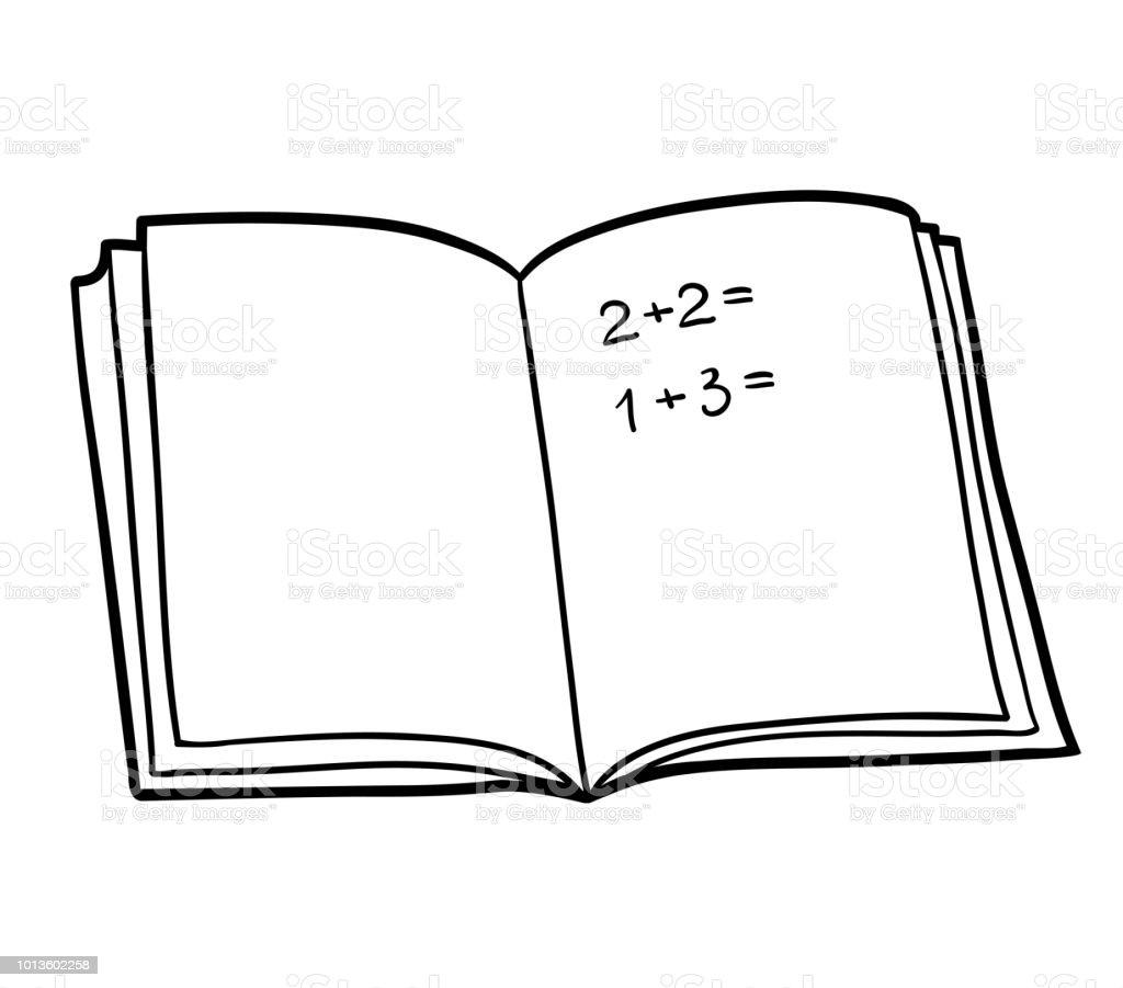 Ilustración De Libro Para Colorear Libro De Matemáticas Y Más